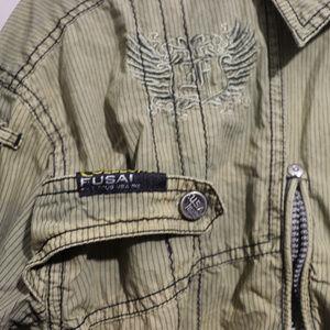 Fusai Jeans Military Stlye Urban Street Wear Shirt